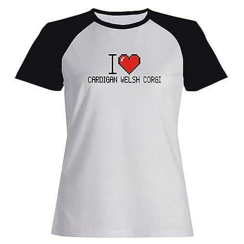 Idakoos I love Cardigan Welsh Corgi pixelated – Cani – Maglietta Raglan Donna