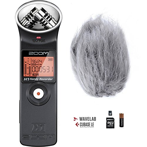Zoom H1 Handy Portable Digital Recorder Bundle with Movo Deadcat Furry Outdoor Windshield by Movo