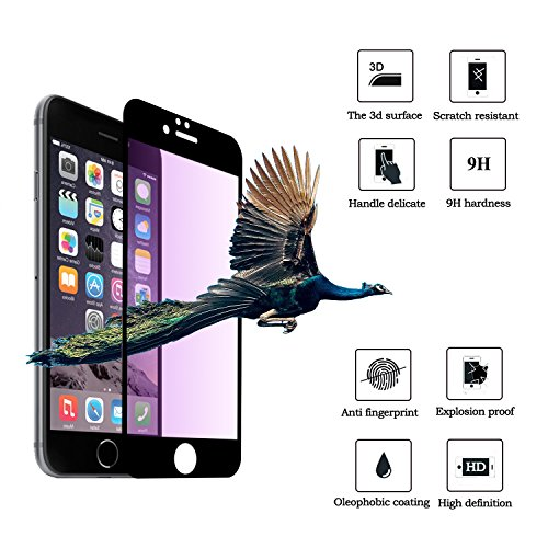 Anti Blue Light Glass for iPhone 6 Plus, Pavoscreen Anti Shatter UV Ray Blocking Screen Cover for iPhone 6s Plus [5.5 inch] (Black) - Blue Ray Covers