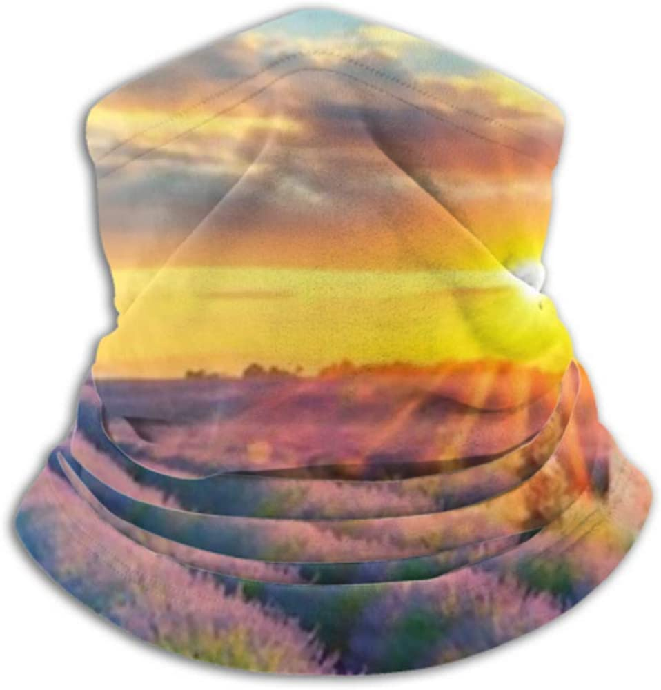 Neck Gaiter Half Mask,face Mask Neck Cap ,ski Mask Fleece Neck Warmer ,multifunctional French Lavender Field Sunset Scarf,a Full Face Mask Or Hat