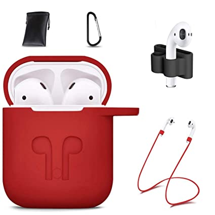 43ce2447e60 AirPods Case Cover,7 in 1 AirPods Accessories Silicone Airpods Protective  Cover Set with Clip