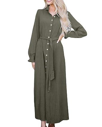 6f2d4cc979e Geckatte Womens Button Down Dresses Casual Fall Long Sleeve Collar Belt  Split Shirt Maxi Dress at Amazon Women s Clothing store