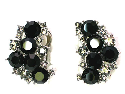 (Faship Black Crystal Clip On Earrings)