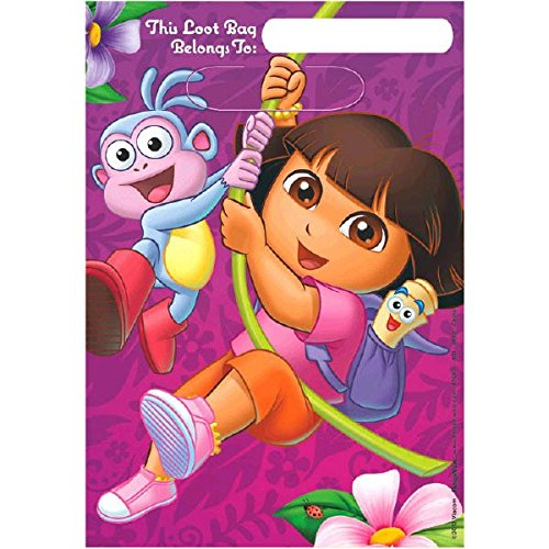 Folded Plastic Loot Bags | Dora's Flower Adventure Collection | Party -