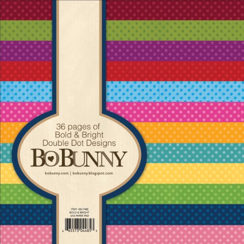 Bo Bunny BoBunny Double Dot Paper Pad, 6 by 6-Inch, Bold and Bright, 36-Pack Bo Bunny Double Dot