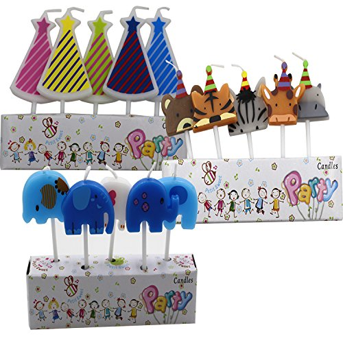 Birthday Cake Candles Pack CupCake of Animal,elephant,Conical shape Cute Cake Topper Counting Amazing for kids for adults Singing Decoration set (Editable Cake Topper)