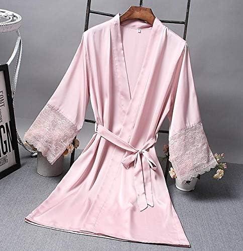 Color : Light Purple tama/ño: XXL Batas de Las Mujeres Elegante del cord/ón de Noche Atractiva Vestir Kimono de Seda Albornoz OPNIGHDYMD Kimono