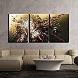 3 Piece Canvas Wall Art,Digital Painting of Abstract High Technology Circle Background,Modern Home Decor Stretched and Framed Ready to Hang,16''x24''x3 Panels
