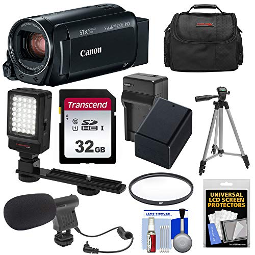 - Canon Vixia HF R800 1080p HD Video Camera Camcorder (Black) with 32GB Card + Battery & Charger + Case + Filter + Tripod + LED Light + Microphone Kit