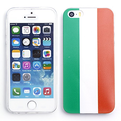iProtect EM Schutzhülle Apple iPhone 5 5s SE Flag TPU Soft Case Italien Flagge