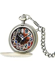 Doctor Who Watch - The Masters Fob Watch - 50th Anniversary Silver Pocket Timepiece - Light Up Dial