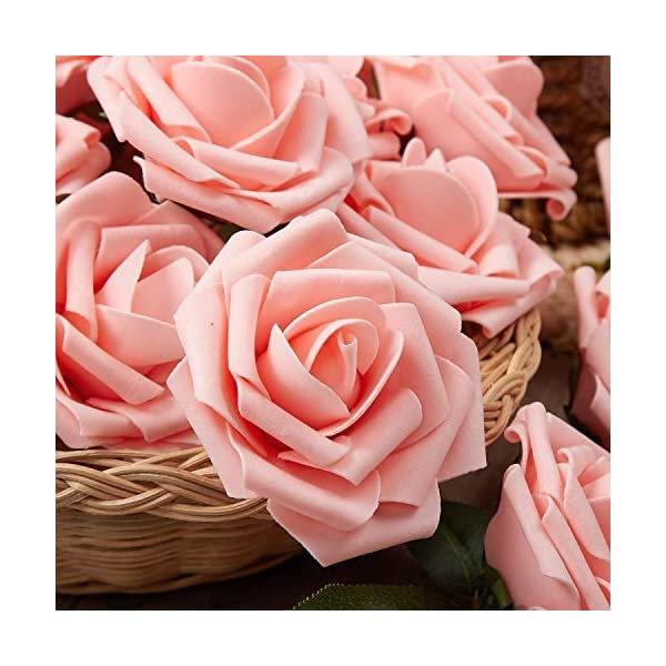 Hecaty 30 Pcs Silk Cream Roses Flower Head, Artificial Flowers Centerpiece Heads for Wedding Bouquets Home Party Decor DIY Gift Wreath Baby Shower Accessories