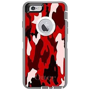 "CUSTOM Glacier OtterBox Defender Series Case for Apple iPhone 6 (4.7"" Model) - Red Black Camouflage"
