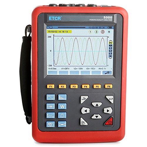 ETCR5000 Power Quality Analyzer Meter Three Phase Power Quality and Energy Analyzer with 3 Phase Power Analyzer Multi-Functional Operation with Optional Current Sensor Model 008B Range AC 10mA~10.0A