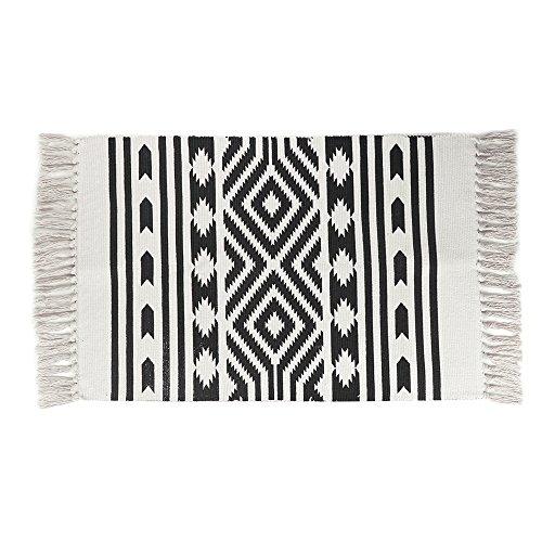 (Cotton Printed Rug, Seavish Decorative Nordic with Tassels Geometric Kilim Rug Hand Woven Rag Rug Entryway Thin Throw Rug 2x3 for Living Room Laundry Room Dorm )