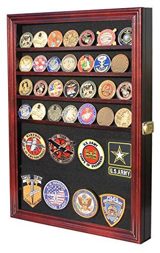 Challenge Coin/Medals/Pins/Badges/Ribbons/Insignia/Poker Chip Display Case Box Cabinet (Mahogany)