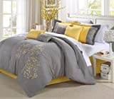 Colorful King Size Comforter Sets Chic Home Floral 12-Piece Embroidered Comforter Set Complete Embroidery Pattern Bed in a Bag with Sheet Set Bed Skirt and Decorative Pillows Shams, King Yellow Grey