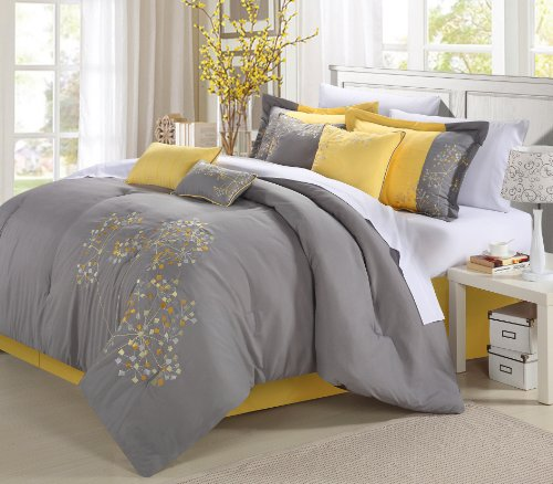 Piece Embroidered Comforter Set Complete Embroidery Pattern Bed in a Bag with Sheet Set Bed Skirt and Decorative Pillows Shams, King Yellow Grey ()