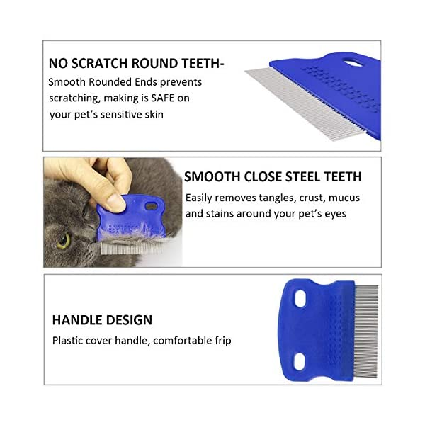 2 Pack Pet Dog Cat Flea Comb Tear Eye Stain Remover Combs, Hair Brush Effectively Clean and Removes Tangles, Dirt, Fleas… Click on image for further info. 3