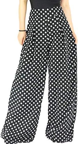 YSJERA Womens Chiffon Wide Leg Palazzo Pants Solid Gaucho Pants Culottes Trousers