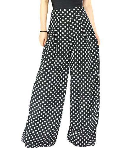 YSJERA Women's Chiffon Wide Leg Palazzo Pants Maxi Full Length Solid Gaucho Pants Culottes Trousers (L, Black Polka Dot)