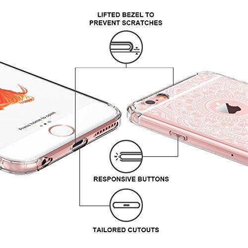 Funda iPhone 6s Plus, Funda iPhone 6 Plus, MOSNOVO Blanco Henna Mandala Lace Transparente Cover Diseño de Plástico Impreso con TPU Bumper Protectora de Espalda Cubierta para iPhone 6/6s Plus (5.5) (W Mandala Henna