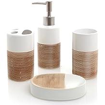 Deluxe 4 Piece White & Beige Ceramic Bathroom Set w/ Soap Dispenser, Toothbrush Holder, Tumbler & Soap Dish