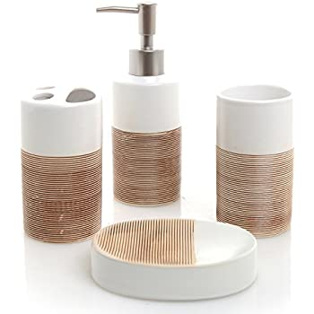 Superbe MyGift Deluxe 4 Piece White U0026 Beige Ceramic Bathroom Set W/Soap Dispenser,  Toothbrush