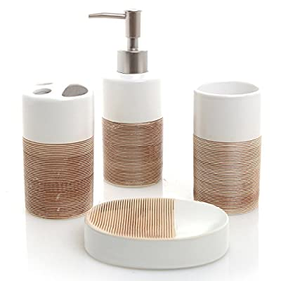 MyGift Deluxe 4 Piece White & Beige Ceramic Bathroom Set w/Soap Dispenser, Toothbrush Holder, Tumbler & Soap Dish - A gorgeous 4-piece bathroom counter accessories set made of ceramic and featuring a combination of white and brown finishes. This stylish set comes with 1 toothbrush holder, 1 tumbler, 1 pump-top hand soap dispenser, and 1 soap dish. Perfect for storing your toiletries and adding style to your bathroom counter. - bathroom-accessory-sets, bathroom-accessories, bathroom - 51ahtLSW6uL. SS400  -
