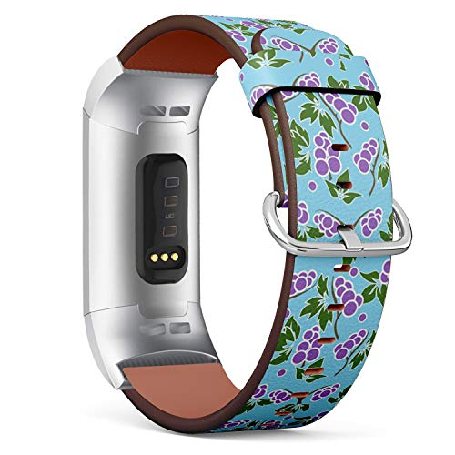 Compatible with Fitbit Charge 3 & 3 SE - Leather Wristband Bracelet Replacement Accessory Band (Includes Adapters) - Grapevine