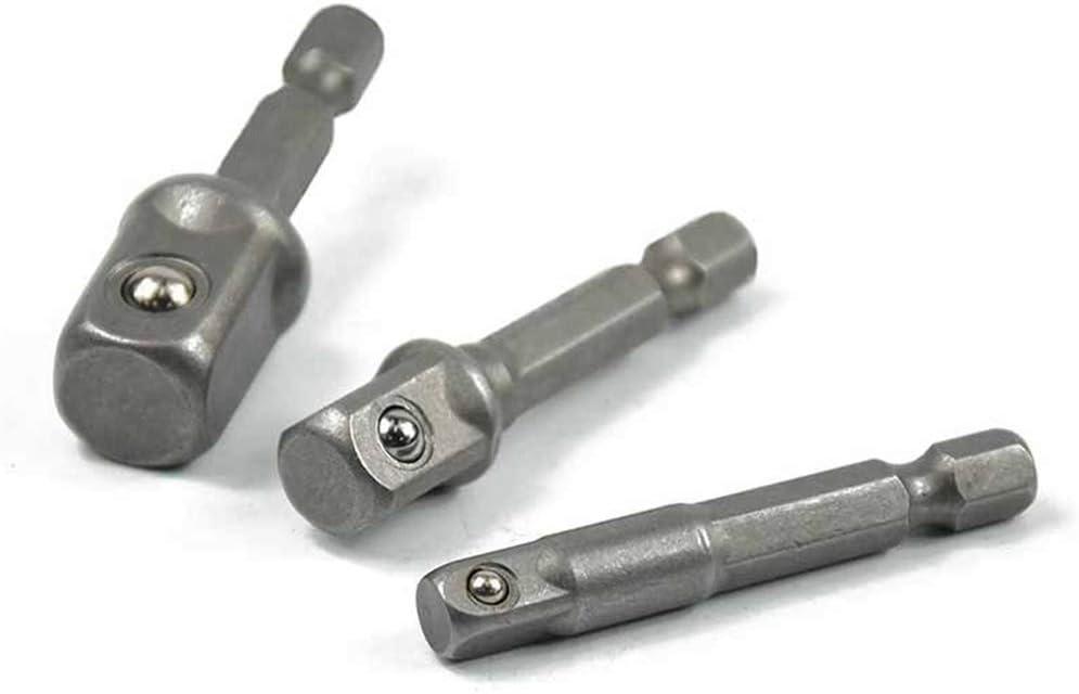 Bomcomi 3PCS 1//2 1//4 3//8 Inch Socket Bits Adapter Set Hex Drill Nut Driver Power Shank Connecting Rod Head