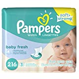 Pampers Baby Wipes, Baby Fresh Scent, 3X Refill Packs, 216 Count