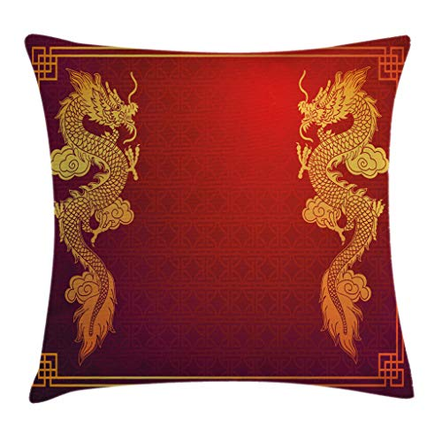 Ambesonne Dragon Throw Pillow Cushion Cover, Chinese Heritage Historical Eastern Motif with Creature Design, Decorative Square Accent Pillow Case, 16″ X 16″, Orange Yellow