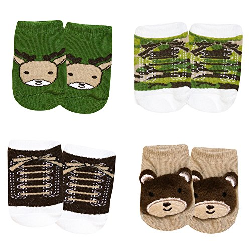 Baby Essentials Baby Boys Camouflage Hunting Boot Socks Bear Deer 4 Pack 0-6 mth