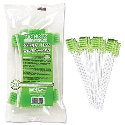 Toothette® Oral Care Plus Swabs with Sodium Bicarbonate - Carton (25 bags of 20 swabs)