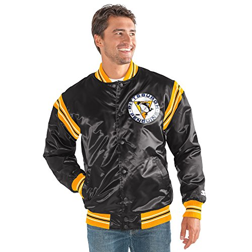 STARTER NHL Pittsburgh Penguins Men's The Enforcer Retro Satin Jacket, Small, Black