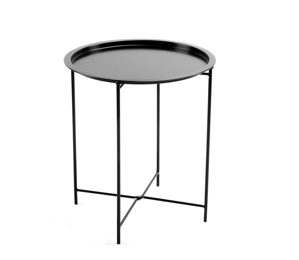 Finnhomy small round side end table sofa table tray side table snack table metal anti rusty outdoor and indoor use for putting small things multi use