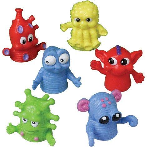 US Toy - Dozen Assorted Color Monster Finger Puppets -1.5