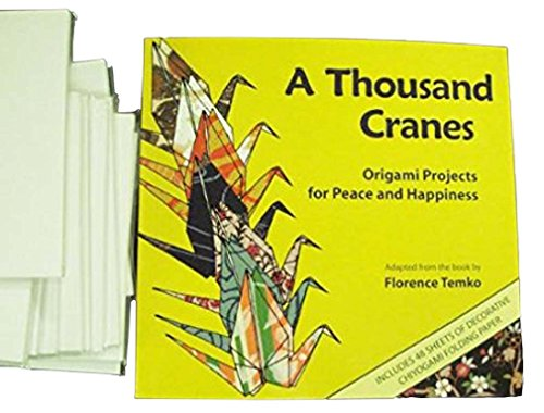 Thousand Cranes Book and 1050 sheets of White Origami Paper (All white)