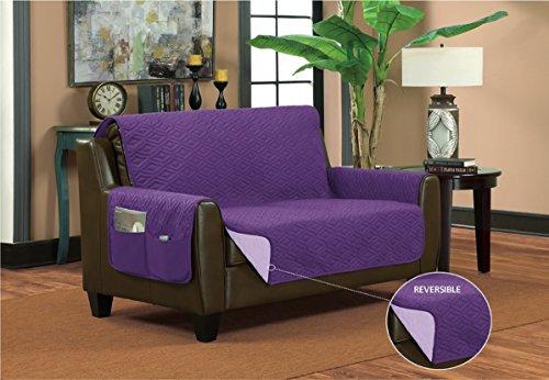 (Bella Kline Reversible Sofa LOVESEAT Furniture Protector, with 2 Storage Pockets - Purple/Lavender)