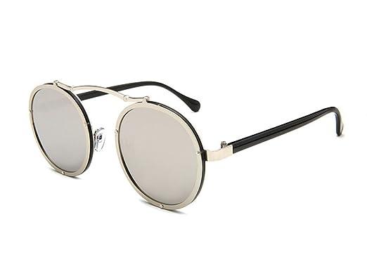 Keephen Vintage Steampunk Hippie non-polarisé cadre rond lunettes de soleil classique lentille en résine mjmd9