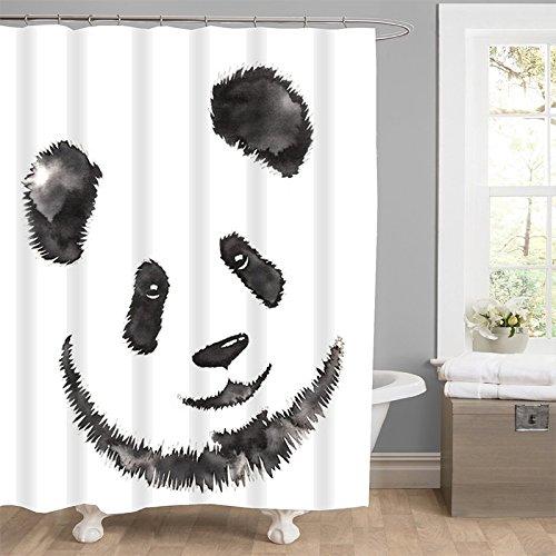 Nice KINGCO Shower Curtain, Mildew Resistant Fabric Waterproof & Antibacterial, 71x71 inches - Panda