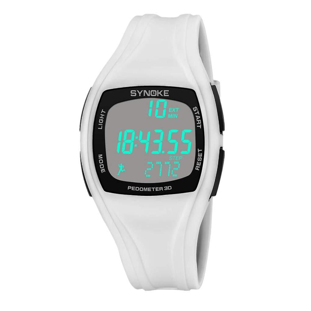BBestseller Reloje Hombres, Relojes Deportivo Infantil electrónico Multifuncional Impermeable 50m Inteligente Podómetro Pulsera (Blanco): Amazon.es: Relojes