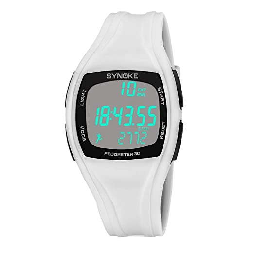 BBestseller Reloje Hombres, Relojes Deportivo Infantil electrónico Multifuncional Impermeable 50m Inteligente Podómetro Pulsera (Blanco