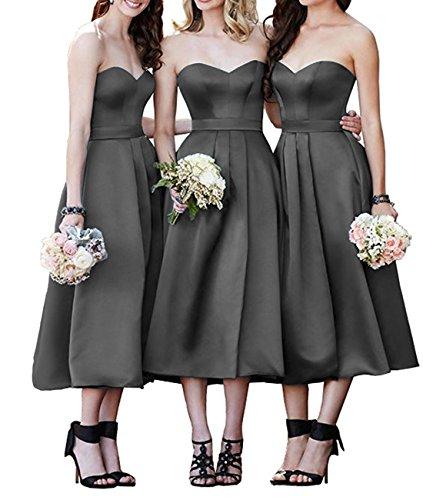 Strapless Bridesmaid Dress Sweetheart A-Line Satin Homecoming Dresses Tea (Strapless Tea Length)