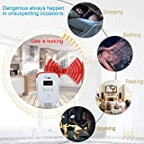 Natural Gas Detector-Ourjob, Gas Leak Alarm Sensor Butane Methane Gas Monitor, Voice Prompt, Strobe Light Warning, Digital Display (White, No Battery)
