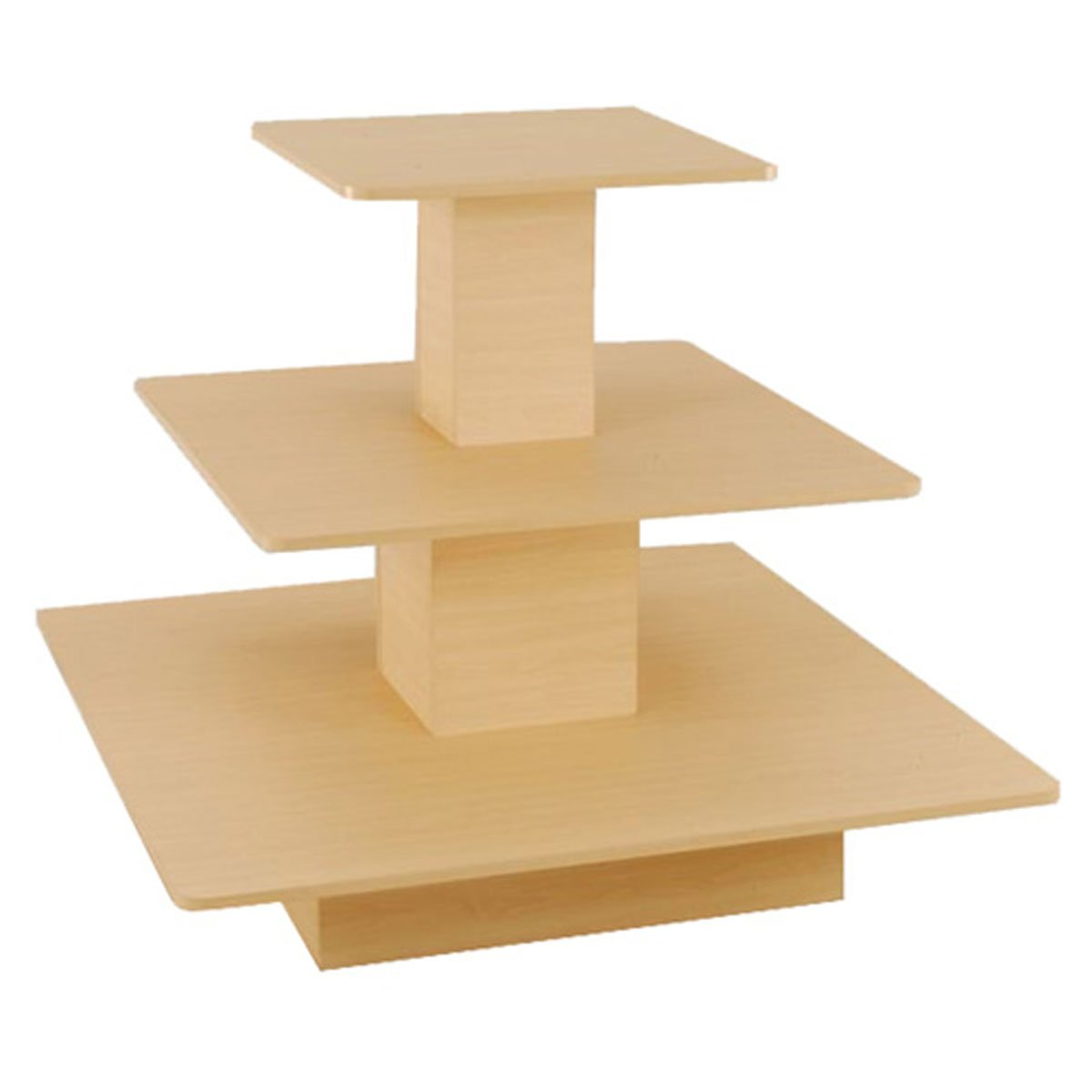 Rolling 3 Tier Display Table Square Boutique Clothing Store Fixture Maple New