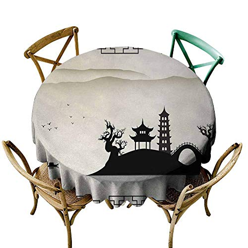 Zmlove Ancient China Restaurant Tablecloth Dreary Sketch House on Hill Pagoda Pavilion Bridge Dried Trees Fisherman Picnic Black Beige (Round - 39