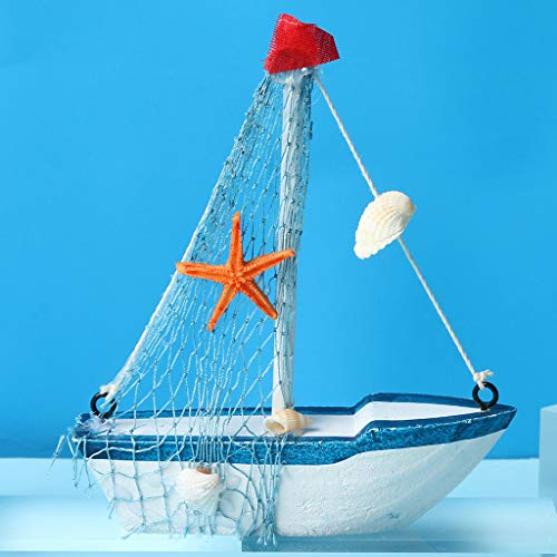 JHFUH Marine Theme Wooden Sails Model Ornaments Home Decor Resin Crafts Photo Prop Great Gift for Friends Colleagues Family (C)