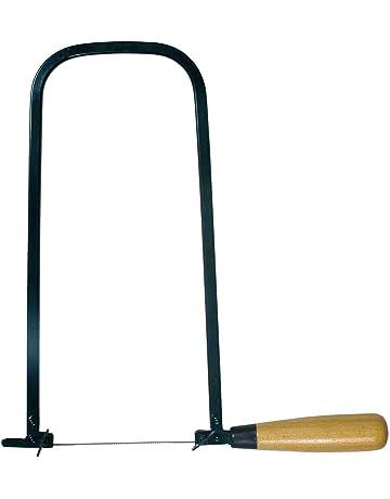 Handsaws madera metal vidrio Sierra de carpinter/ía multiusos con marco de sierra en forma de U ajustable con 6 hojas de sierra de repuesto en espiral para madera